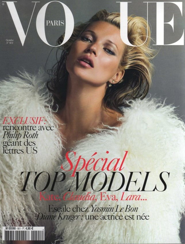 Beautiful Model Kate Moss Modeling For The Cover Of Vogue Paris Magazine As One Of The Most Highly Paid Models In The World